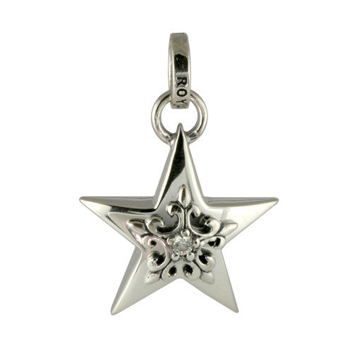 5 POINT STAR w/ FLEUR DE LIS STAR PENDANT w/ CZ