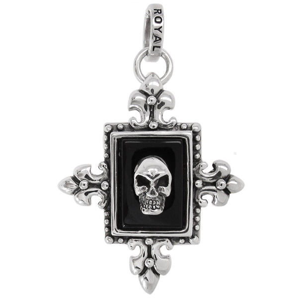 RECTANGLE FRAMED ONYX w/ SKULL PENDANT