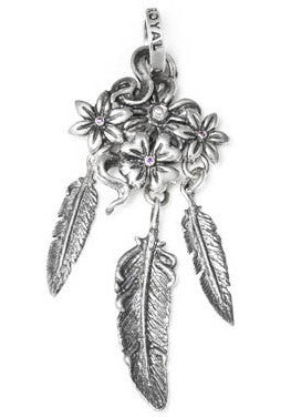 CACTUS BLOSSOM PENDANT w/ CZ & FEATHERS 4, 6, 8