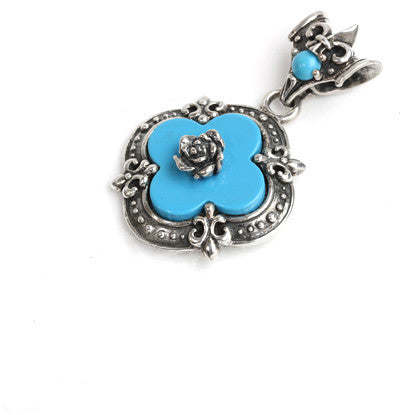 CLOVER ROSE PENDANT w/ TURQUOISE