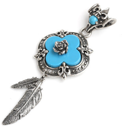 CLOVER ROSE PENDANT w/ TURQUOISE & FEATHERS 2, 6