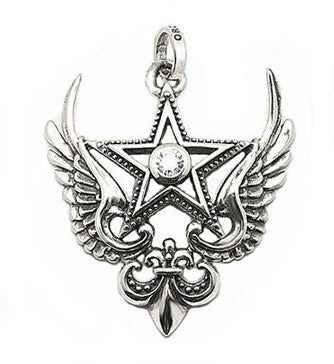 MAGESTIQUE WINGED STAR PENDANT w/ CZ