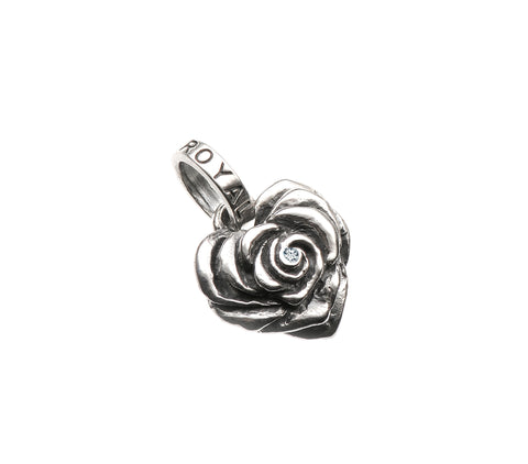 SMALL HEART ROSE PENDANT w/ DIAMOND