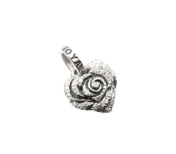 SMALL HEART ROSE PENDANT w/ PAVÉ DIAMOND