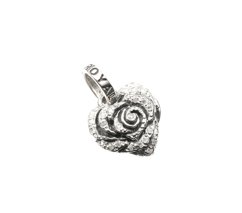 SMALL HEART ROSE PENDANT w/ PAVÉ CZ