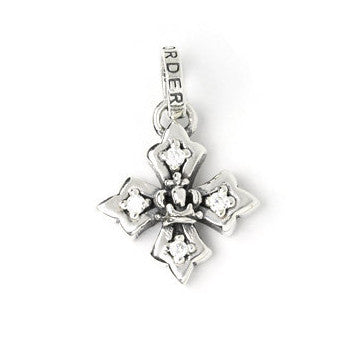 SMALL HARMONY CROSS PENDANT w/ CROWN & SIDE CZS
