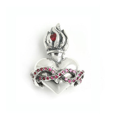 FLAMING HEART w/ CZ & PAVE CZ BARBED PENDANT