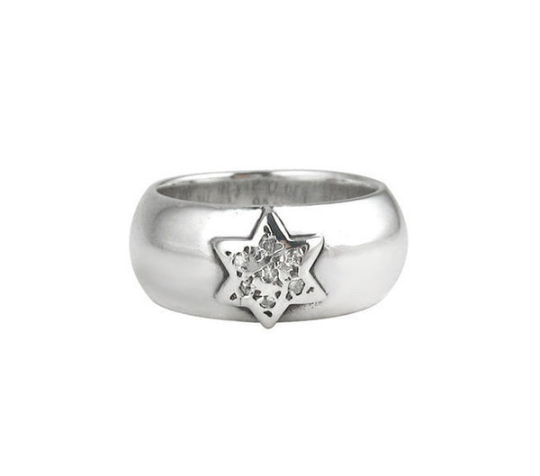 SR01-1PD Plain Wide Band with Pave Diamond Star