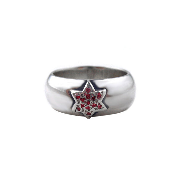 SR01-1RS Plain Wide Band with Star and Pave Rubies or Sapphires