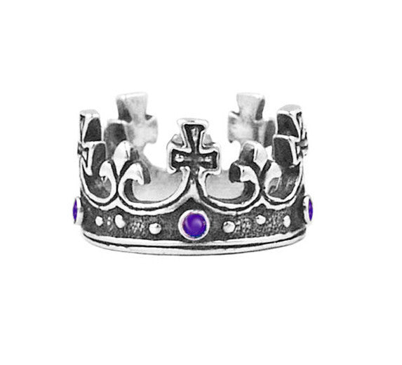 LARGE REGAL CROWN RING w/ AMETHYST