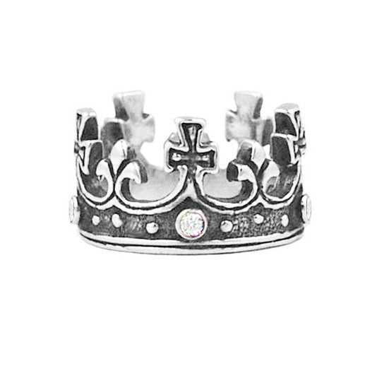 LARGE REGAL CROWN RING w/ DIAMONDS