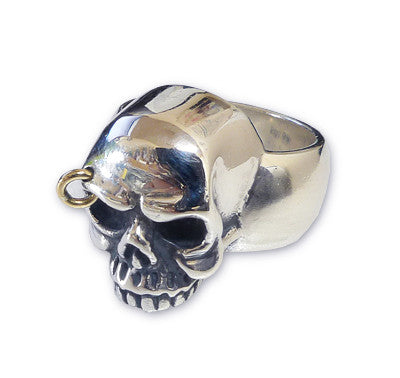 SILENT SKULL RING w/ GOLD RING IN BROW