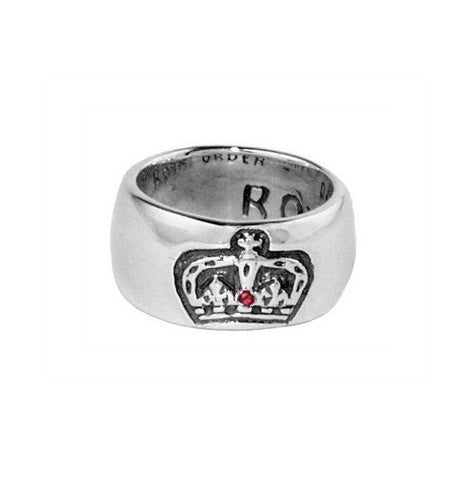 ROYAL CROWN BAND RING w/ 1 RUBY OR SAPPHIRE
