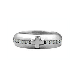 CROSS BAND RING w/ DIAMONDS