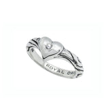 RIBBON TIARA BAND RING w/ HEART w/ 1 CZ