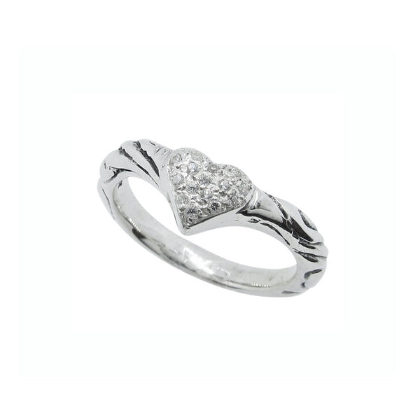 RIBBON TIARA BAND RING w/ HEART w/ PAVÉ CZ