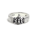 WIDE BAND CROWN RING w/ PAVÉ CZS