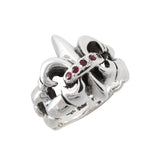 TWISTED FLEUR DE LIS RING w/ 5 RUBIES OR SAPPHIRES OR EMERALDS