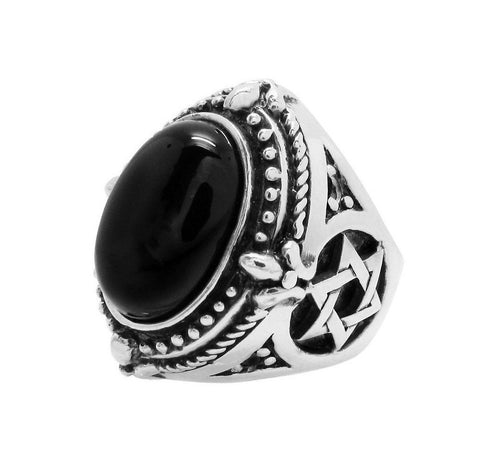 STAR OF DAVID ONYX RING