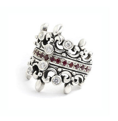 DOUBLE TIARA RING w/ DIAMONDS & RUBY OR SAPPHIRE BAND