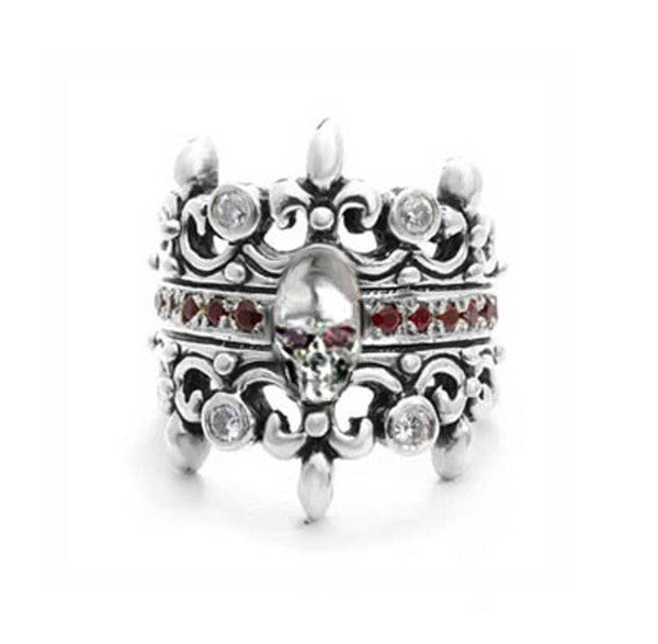 DOUBLE TIARA RING w/ SKULL w/ DIAMOND & RUBIES OR SAPPHIRES AND RUBY OR SAPPHIRE EYES
