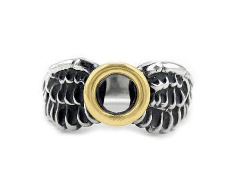 SMALL HALO & WINGS RING w/ 18K GOLD HALO
