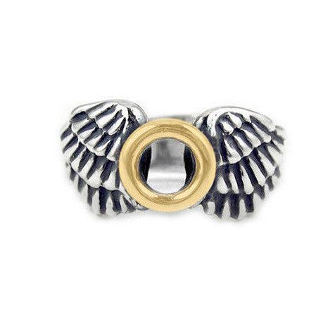 MEDIUM HALO & WINGS RING w/ 18K GOLD HALO