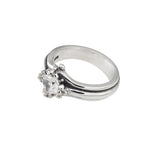 TRIPLE BAND SOLITAIRE RING w/ CZ