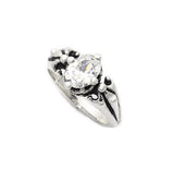 TRIPLE BAND CROWN FLEUR DE LIS RING w/ OVAL CZ