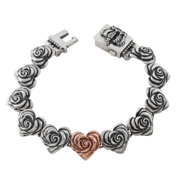 SMALL HEART ROSE LINKS BRACELET w/ CROWN BOX w/ 14K PINK GOLD HEART w/ 1 DIAMOND