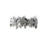 STARBURST SINGLE BAND RING w/ 1 STAR PAVÉ DIAMOND & 2 STARS 1 DIAMOND
