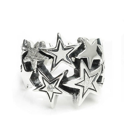 STARBURST LARGE RING w/ 2 PAVÉ STARS & 1 SINGLE CZ