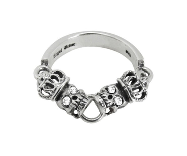 SKULLS w/ CROWNS CHAIN BAND RING w/ CZ EYES