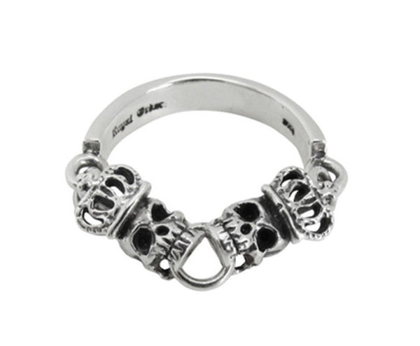 SKULLS w/ CROWNS CHAIN BAND RING