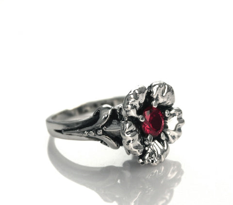 PARADISE HIBISCUS SOLITAIRE RING w/ CZ CENTER