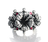 WAILEA TRIPLE HIBISCUS RING w/ CZS ON TIARA BAND