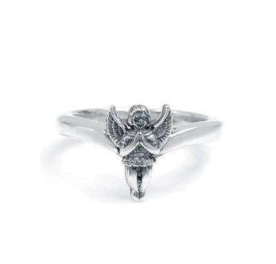 THICK TIARA BAND RING w/ PRAYING ANGEL