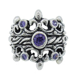 DOUBLE TIARA RIBBON BAND RING 4 CZ IN TIARA 1 MEDIUM CENTER STONE