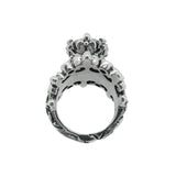 DOUBLE TIARA RIBBON BAND RING 4 CZ IN TIARA 1 LARGE CENTER CROWN STONE