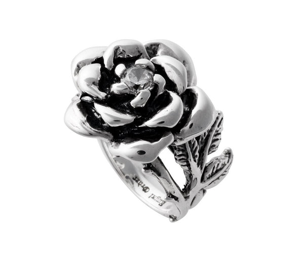 LARGE BLOSSOM RING w/ VINE & CZ