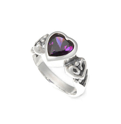 HEART RING w/ CZ & ALLEGRA HEART SIDES
