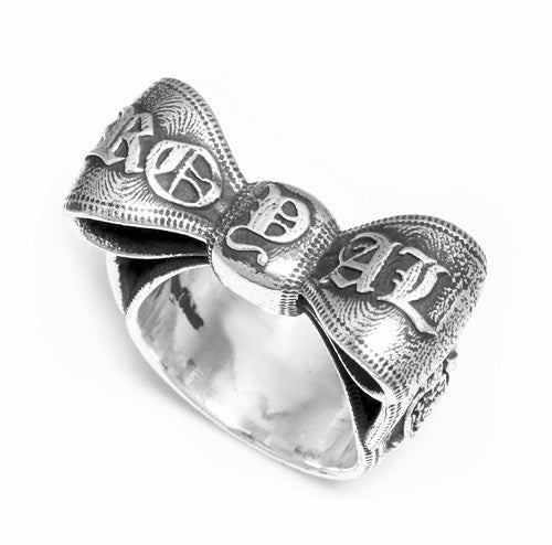 LOGO RIBBON EMBOSSED BOW RING