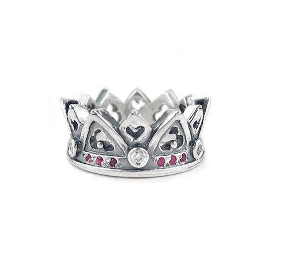 OPHELIA CROWN RING w/ DIAMONDS ON SILVER BALLS & RUBIES OR SAPPHIRES ON BAND