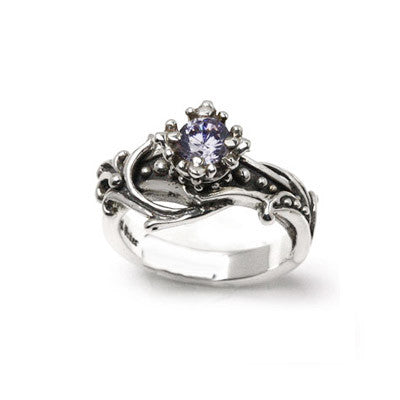 FIONA CROWN SOLITAIRE RING w/ VINES & CZ