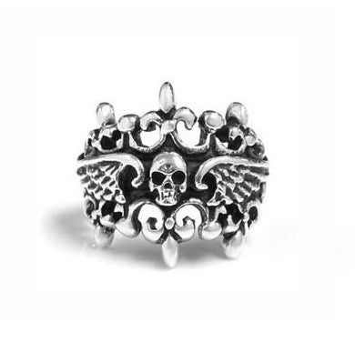 DOUBLE TIARA WINGED SKULL RING