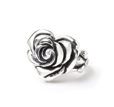 HEART ROSE RING w/ CZ CENTER & SIDES