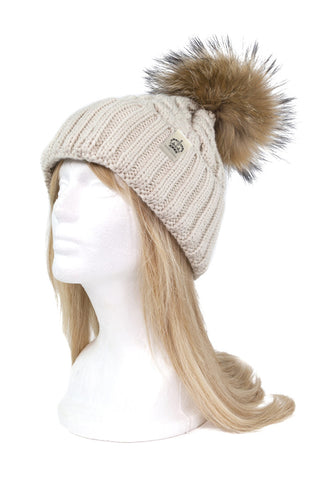ROYAL ORDER TAUPE KNIT BEANIE w/ NATURAL RACCOON FUR POMPOM