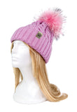 ROYAL ORDER PINK KNIT BEANIE w/ RACCOON FUR POMPOM