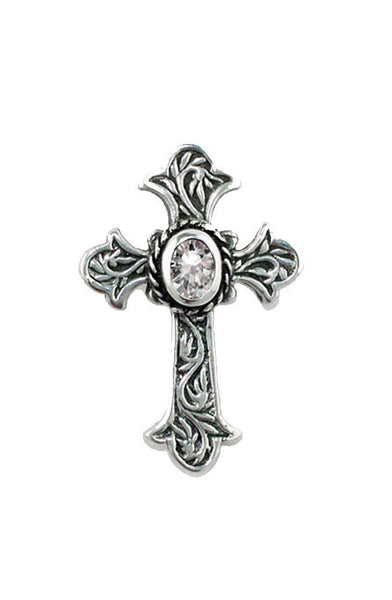 CARVED CROSS PENDANT w/ CZ