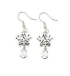 SE97 Crown Hook Earrings with Letter and Cubic Zirconium
